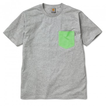 Carhartt S/S Contrast Pocket T-Shirt - Grey Heather/Lime Green