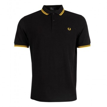 Fred Perry Twin Tipped Fred Perry Shirt - Black/New Yellow