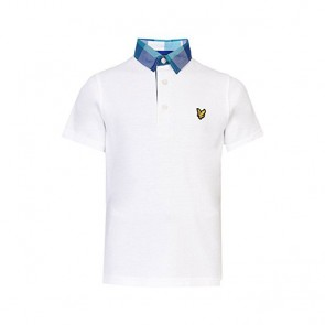 Lyle & Scott Boys Check Collar Polo Shirt - Bright White