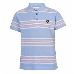 Lyle & Scott Boys Double Stripe Polo Shirt - Blue Marl