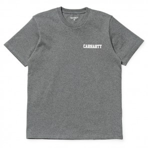 Carhartt College Script T-Shirt IO15729 - 189 Dark Grey Heather/White