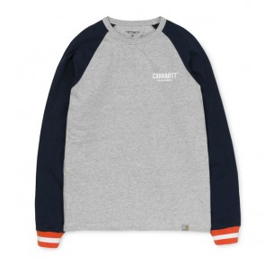 Carhartt L/S Riley T-Shirt - Grey Heather/Duke Blue