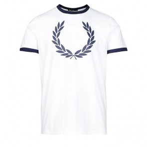 Fred Perry Laurel Wreath Ringer T-Shirt  - White