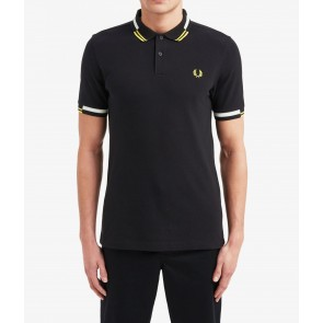 Fred Perry Abstract Tipped Polo Shirt - Black