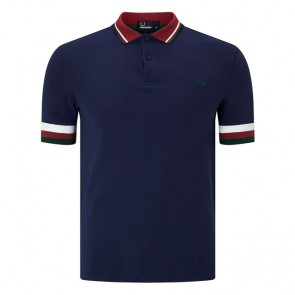 Fred Perry Striped Cuff Pique Shirt	- Carbon Blue