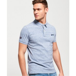 Superdry	Classic Short Sleeve Pique Polo Shirt Gravel Blue Grit