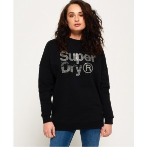 Superdry	Sparkle Skater Crew Sweatshirt Black