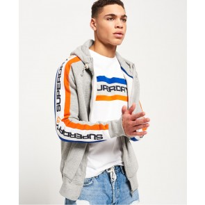 Superdry	Trophy Sleeve Panel Zip Hoodie Stadium Grey Grindle