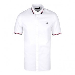Fred Perry Twin Tipped Waffle Shirt	 - White