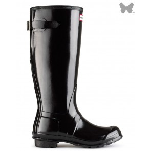 Hunters Unisex Original Back Adjustable Gloss Wellington Boots W25064 - Black